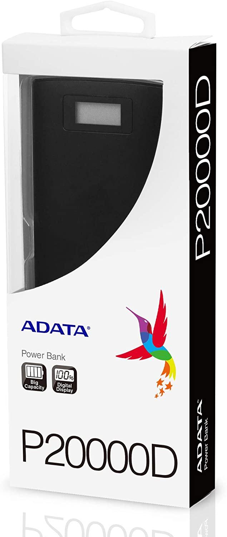 ADATA Powerbank Batería Portatil Color Negro 20000 mAh con Pantalla Digital (Modelo P20000D)