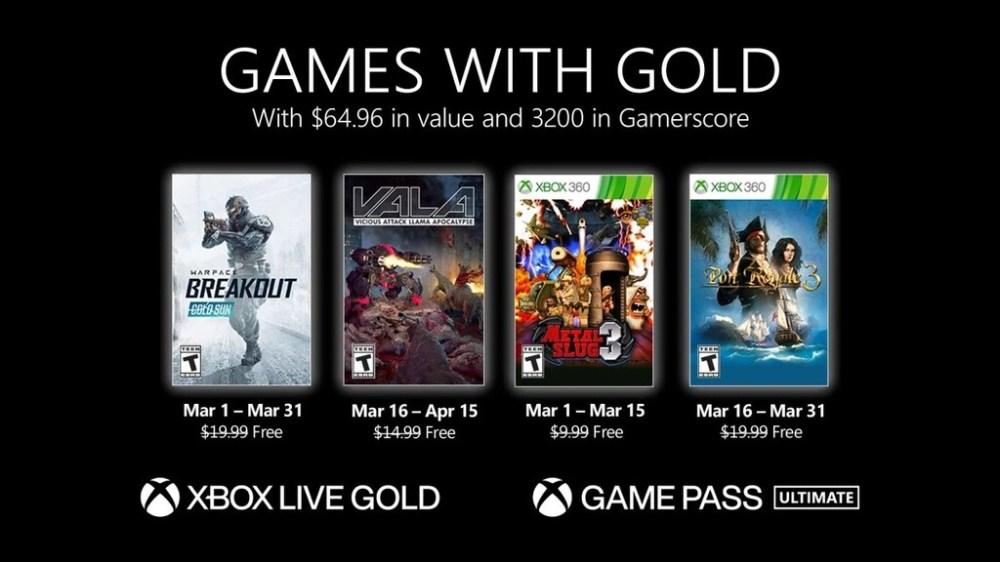 Warface: Breakout y Metal Slug 3 entre los juegos de Games with Gold de marzo de 2021