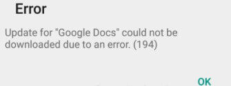 Error 194 Google Play