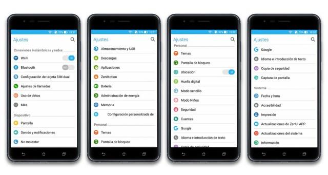 Asus Zenfone Zoom S Sistema Ajustes