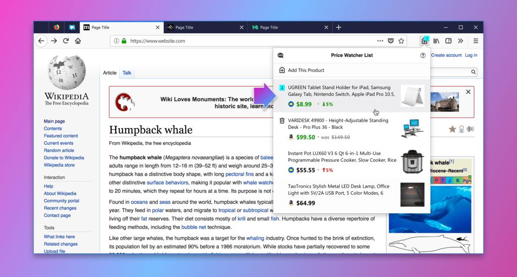 Firefox esta probando una función experimental que te avisa cuando un producto baja de valor en eBay® o Amazon