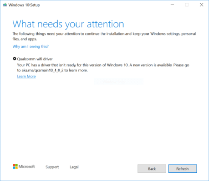 Windows 10 Setup Blocked Due To Old Qualcomm Wifi Driver