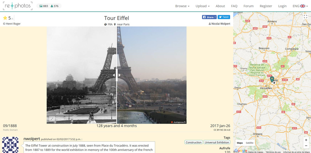 Paris Torre Eiffel Antes Y Despues Foto