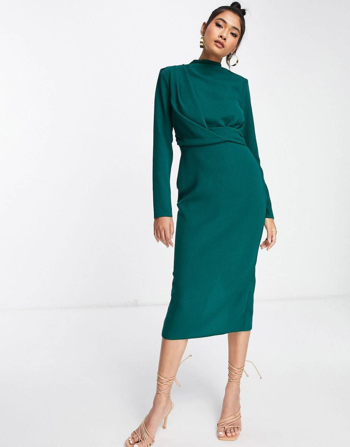 ASOS DESIGN high neck midi dress with shoulder pads and twist front design