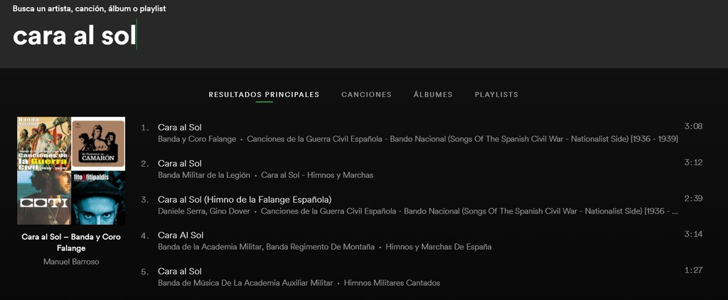 Busqueda Spotify Cara Al Sol