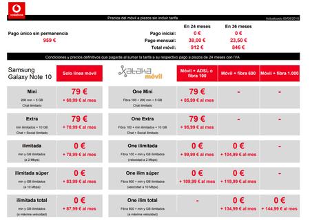 Precios Samsung℗ Galaxy℗ Note 10 A Plazos Con Tarifas Vodafone