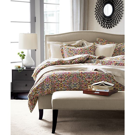 colette upholstered bed, linen with nailhead trim, crate and barrel