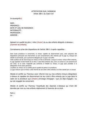 Calamo Attestation Sur Lhonneur Audition De Lenfant