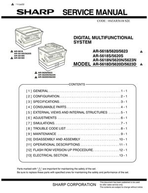 Calaméo  Service Manual SHARP AR 5618 5620  5623 SME