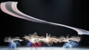 A long exposure photo shows members of the Vienna State Opera Ballet performing on stage at the Stage opera house in Vienna in February 2013. (Herwig Prammer/Reuters)