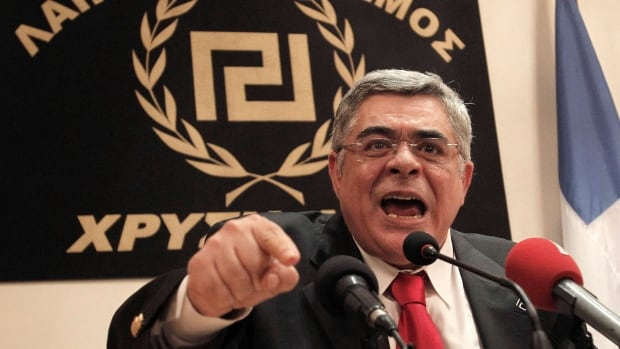 Golden Dawn party leader Nikos Mihaloliakos, seen here in May 2012, was arrested as part of a crackdown on the country's extreme-right party.