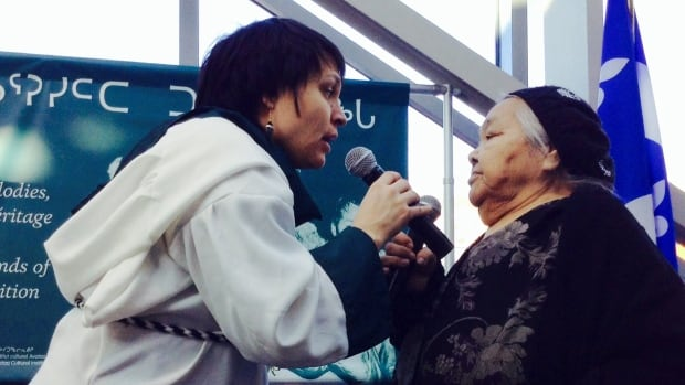 Yesterday Quebec recognized its first example of intangible cultural heritage: throat singing, katajjaniq.  Evie Mark and elder Audla Tullauqa were among those performing at the inaugaral ceremony at the Montreal Museum of Fine Arts.