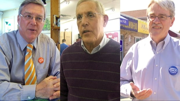 NDP candidate Alex Cullen, left, and Progressive Conservative Randall Denley, right, are both familiar foes of current MPP and Liberal energy minister Bob Chiarelli, centre.