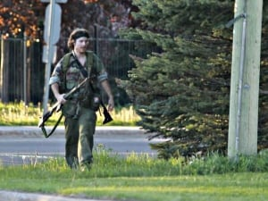 The RCMP identified the suspect of a massive manhunt as 24-year-old Justin Bourque. This image of Bourque was taken by Moncton Times and Transcript photojournalist Viktor Pivovarov.