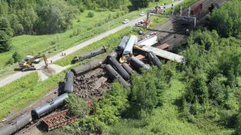 The Transportation Safety Board of Canada released this aerial photo of the derailment site after the July 2014 incident.