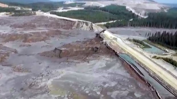 A still photo taken from video provided by the Cariboo Regional District of a helicopter overflight of the stricken area.