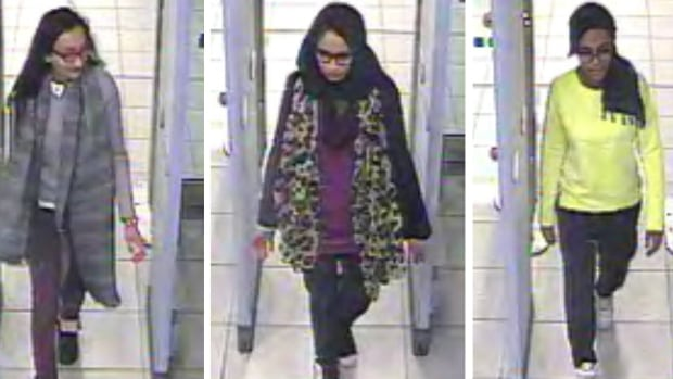 Kadiza Sultana,16, left, Shamima Begum, 15, centre, and 15-year-old Amira Abase went to Syria through Turkey in February.  A Syrian man accused of helping them join ISIS claims he has worked for Canadian intelligence, according to a Turkish report.