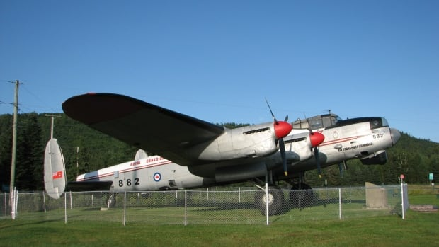 Lancaster KB882 at Edmunston, NB, Canada - (City of Edmundston photograph via CBC) )