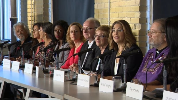 Author Naomi Klein (second from right) unveils The Leap Manifesto: A Call for Caring for the Earth and One Another, along with the national indigenous Anglican bishop Mark MacDonald (far right) and environmentalist and broadcaster David Suzuki (far left).