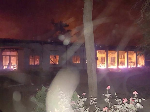 A hospital run by Médecins Sans Frontières in the Afghan city of Kunduz is seen in flames, after explosions in the city on Saturday, Oct. 3, 2015.