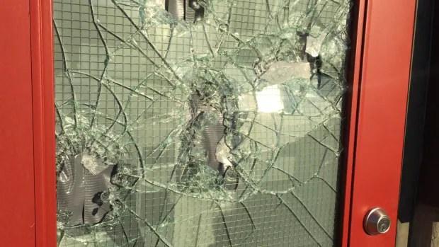 Vandals threw rocks at mandir to cause damage