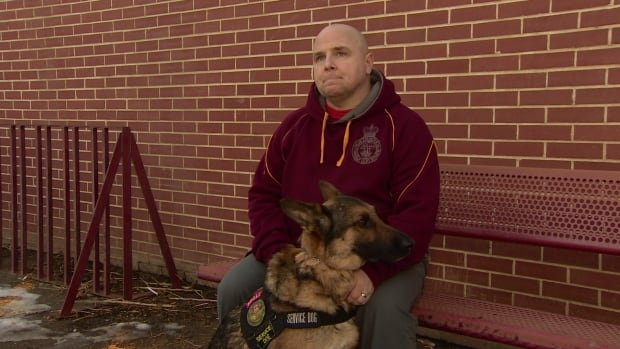 Sgt. Jeffrey Yetman, a veteran of five overseas deployments, wants to see changes to recent rules that ban his service dog from many buildings on base.