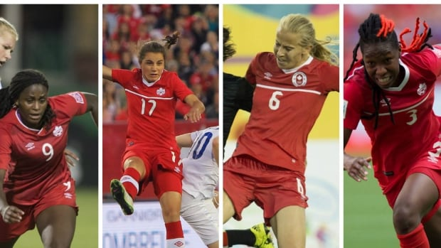 From left, Team Canada's Nichelle Prince, Jessie Fleming, Rebecca Quinn and Kadeisha Buchanan are on the team vying for an Olympic berth in Houston, Texas at CONCACAF Women's Olympic Qualifying Championship.