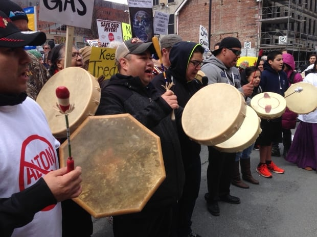 Mi'kmaq drummers protest proposed natural gas storage project