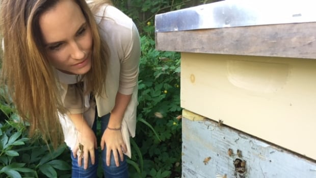 Tara Lapointe examines bees around the hive she keeps in her backyard on Willow Street in Halifax.