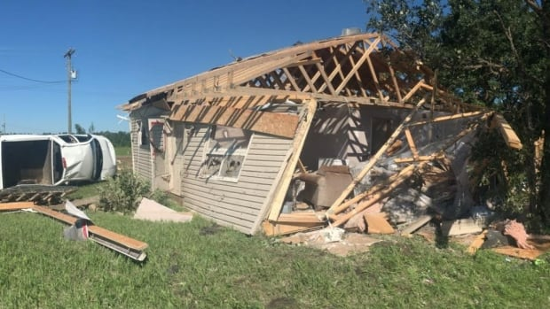 Frieda Meeches' home was heavily damaged by a tornado that touched down at Long Plain First Nation on Wednesday evening.
