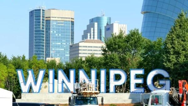 The Winnipeg sign at The Forks. (Trevor Brine/CBC)