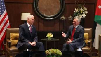 Image result for Jordanian King Abdullah II and Mike Pence