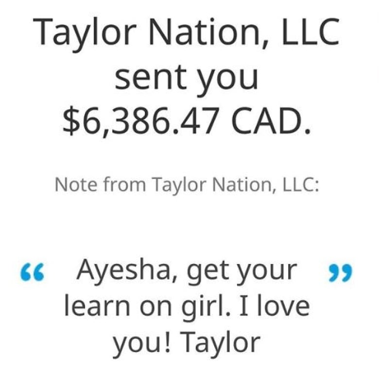 note from taylor swift - Taylor Swift sends $6,386.47 to Ontario university student to help with tuition