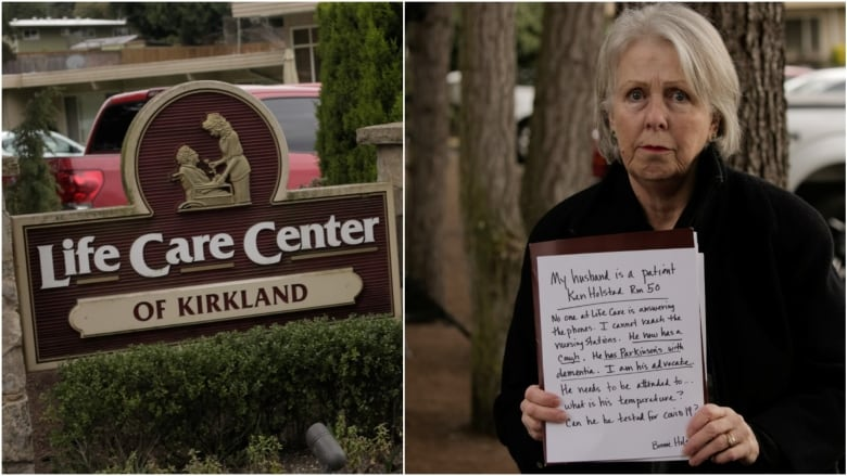 Woman holds sign outside quarantined U.S. care home in ... on Life Care Center Of Kirkland id=38630