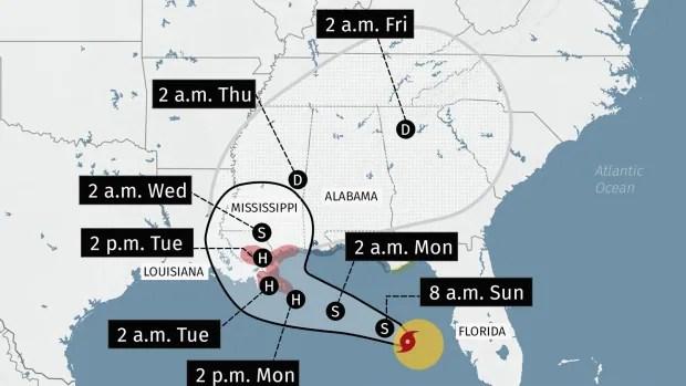 Hurricane Paulette rolls toward Bermuda as tropical storm Sally threatens U.S. Golf Coast   CBC News