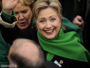 Sen. Hillary Clinton at the St. Patrick's Day Parade March 15 in Pittsburgh, Pennsylvania.