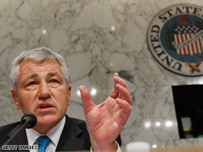 Sen. Chuck Hagel at a Foreign Relations Committee hearing.