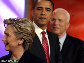 Sens. Obama and Clinton lead McCain in swing states according to a new poll.