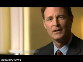 Sen. Evan Bayh, a prominent Clinton surrogate, in her new Indiana ad.