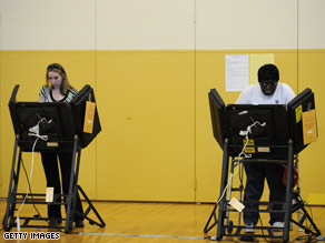 Voters cast their ballots in Oakmont, PA.