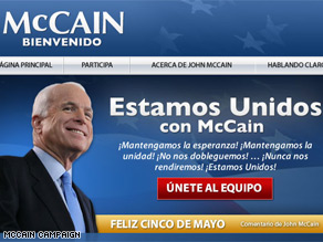 John McCain works to attract Hispanic voters.