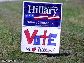 Signs decorate the lawn in front of a polling station in Wilmington, North Carolina.