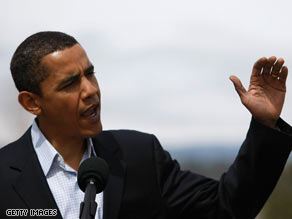 Sen. Barack Obama speaks to reporters in Bend, Oregon, Saturday.