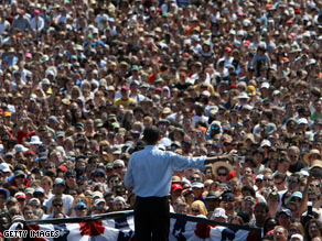 An estimated 75,000 people came out to support Barack Obama Sunday in Oregon.