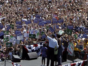 Sen. Obama and family at a campaign event in Portland, Oregon on Sunday.  The rally drew a crowd of 75,000 people.