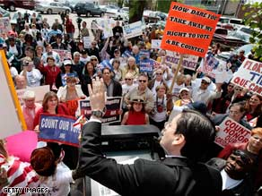 A DNC official addressed a crowd gathered at DNC headquarters in later April protesting Florida's situation.