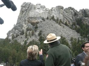 Clinton paid a visit to Mt. Rushmore Wednesday. (Sasha Johnson/CNN)