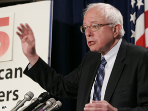 Senator Bernard Sanders addresses the press during a conference on the economy June 11, 2008.
