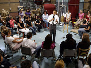Sen. Barack Obama at a roundtable discussion in Albuquerque, N.M.