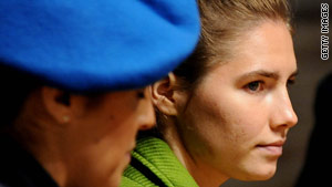 Amanda Knox looks on during a session of her trial last week at the courthouse in Perugia, Italy.